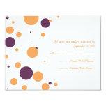 Orange and Purple Polka Dot Wedding RSVP Custom Invites