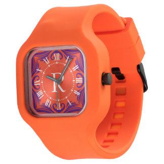 Orange and Purple Summer Vacation Monogram Watch