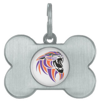 Orange and Purple Tiger Head Pet ID Tags