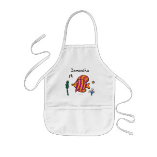 Orange and Purple Tropical Fish with Seahorses Kids' Apron