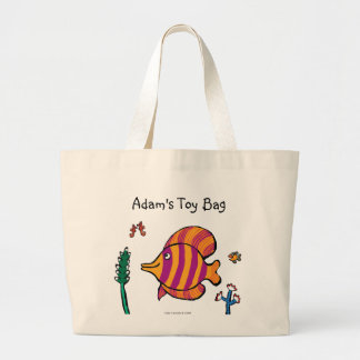Orange and Purple Tropical Fish with Seahorses Large Tote Bag