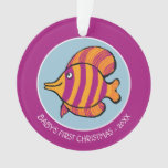 Orange and Purple Tropical Fish with Seahorses Ornament