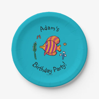 Orange and Purple Tropical Fish with Seahorses Paper Plate