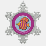Orange and Purple Tropical Fish with Seahorses Snowflake Pewter Christmas Ornament