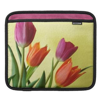 Orange and Purple Tulip Flowers iPad Sleeve