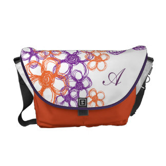 Orange and Purple Wild Flowers Courier Bags