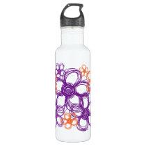 Orange and Purple Wild Flowers Water Bottle