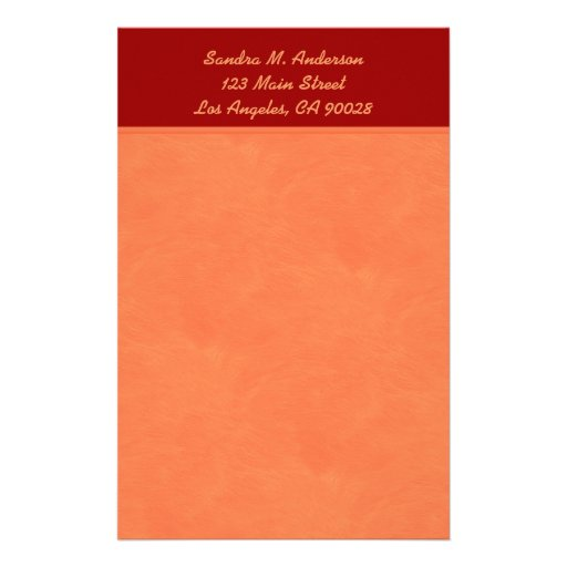 orange and red customized stationery