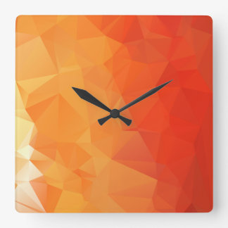 Orange and Red Facet Pattern Square Wall Clocks