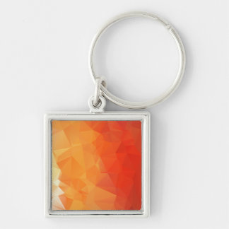Orange and Red Facet Pattern Silver-Colored Square Keychain