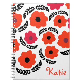 Orange and Red Floral Notebook