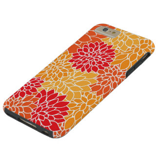 Orange And Red Flower Pattern Tough iPhone 6 Plus Case