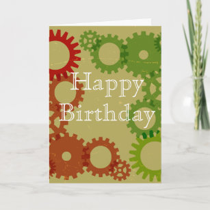 Orange And Red Gear Background HappyBirthday Card