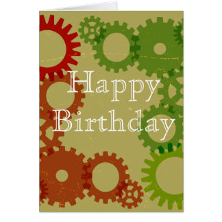 Orange and red gear background, HappyBirthday Greeting Card