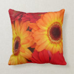 Orange and Red Gerber Daisies Throw Pillows
