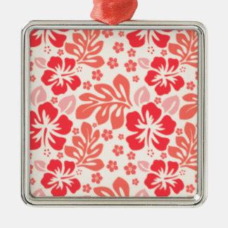 Orange and red hibiscus pattern - Hawaii! Metal Ornament