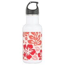 Orange and red hibiscus pattern - Hawaii! Water Bottle