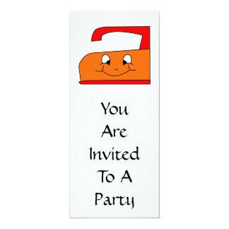 Orange and Red Iron Cartoon. On White. 4x9.25 Paper Invitation Card