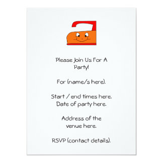 Orange and Red Iron Cartoon. On White. 6.5x8.75 Paper Invitation Card