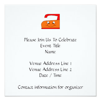 Orange and Red Iron Cartoon. On White. 5.25x5.25 Square Paper Invitation Card