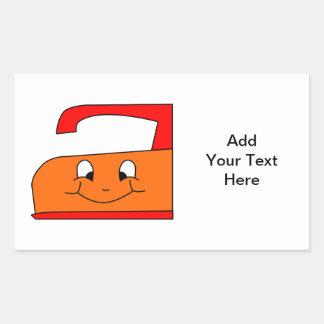 Orange and Red Iron Cartoon. On White. Rectangular Sticker