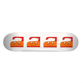 Orange and Red Iron Cartoon On White Skate Decks