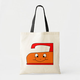 Orange and Red Iron Cartoon. On White. Tote Bag