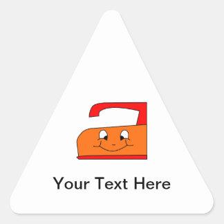 Orange and Red Iron Cartoon. On White. Triangle Sticker