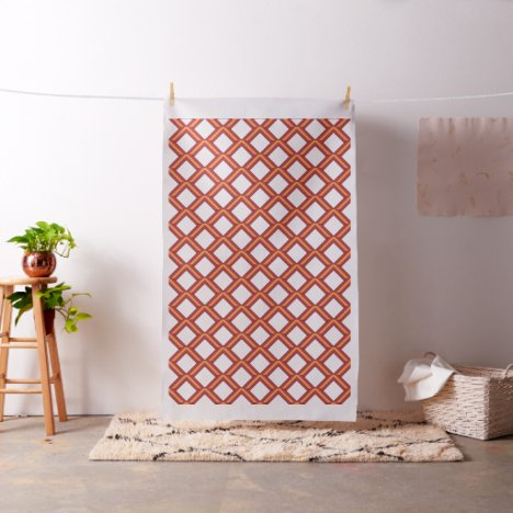 Orange and Red Lattice-Knot Patterned Fabric