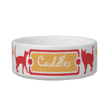Orange and Red Paw Print Kitty Cat Pet Bowl