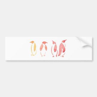 Orange and Red Penguins Bumper Sticker