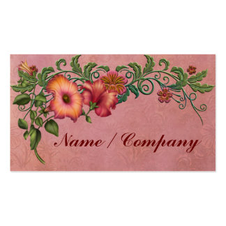 Orange and Red Petunias Business Card Template