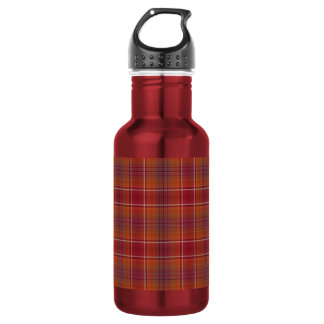 Orange and Red Plaid Stainless Steel Water Bottle
