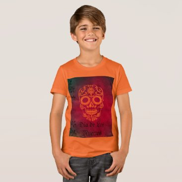 Halloween Themed Orange and Red Sugar Skull/Day of the Dead T Shirt