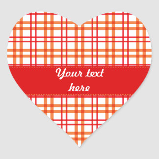 Orange and  Red Tartan Heart Sticker