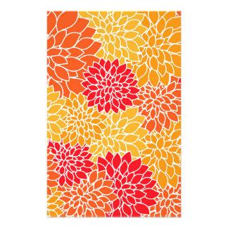 Orange and Red Vector Sunburst Flowers Stationery