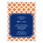 Orange and Royal Blue Quatrefoil Bridal Shower 5x7 Paper Invitation Card