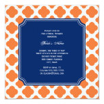 Orange and Royal Blue Quatrefoil Bridal Shower Invitation