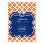 Orange and Royal Blue Quatrefoil  Rehearsal Dinner 5x7 Paper Invitation Card