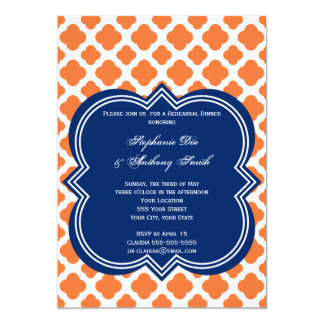 Orange and Royal Blue Quatrefoil  Rehearsal Dinner 5x7 Paper Invitation Card