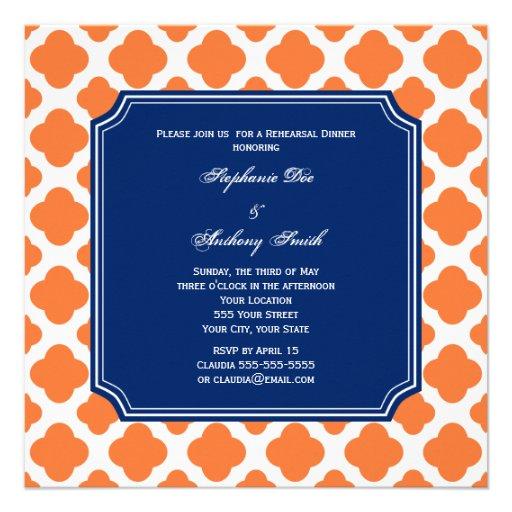 Orange and Royal Blue Quatrefoil Rehearsal Dinner Invite