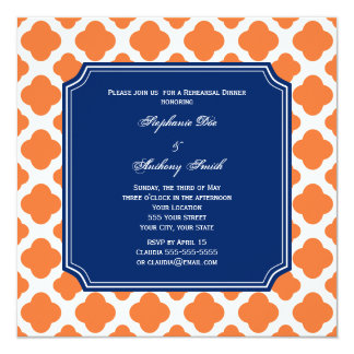 Orange and Royal Blue Quatrefoil Rehearsal Dinner 5.25x5.25 Square Paper Invitation Card