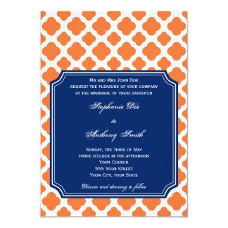 Orange and Royal Blue Quatrefoil Wedding Card