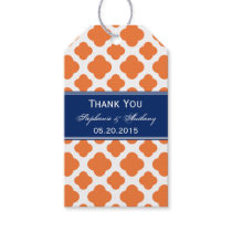 Orange and Royal Blue Quatrefoil Wedding Gift Tags