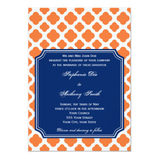 Orange and Royal Blue Quatrefoil Wedding 5x7 Paper Invitation Card