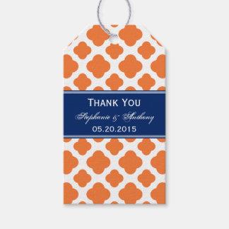 Orange and Royal Blue Quatrefoil Wedding Pack Of Gift Tags