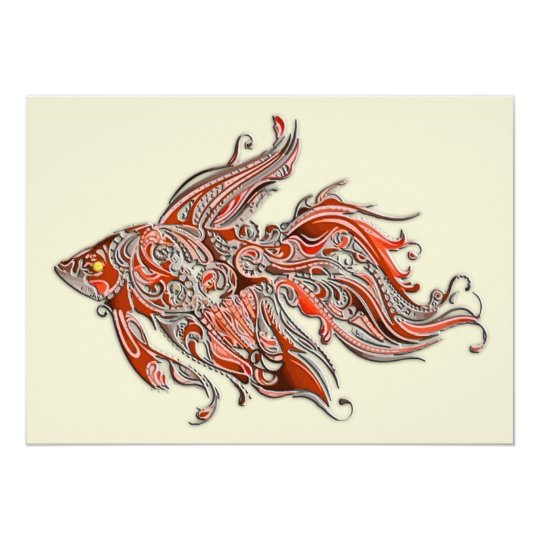 Orange and Rust Swirly Fantail Goldfish Card
