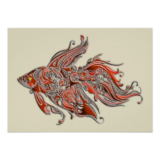Orange and Rust Swirly Fantail Goldfish Poster
