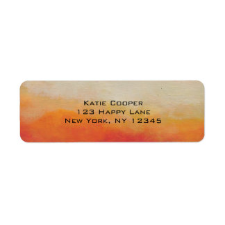 Orange and Sandy Beige Abstract Landscape Painting Label