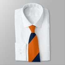Orange and Shy Blue Broad Regimental Stripe Neck Tie